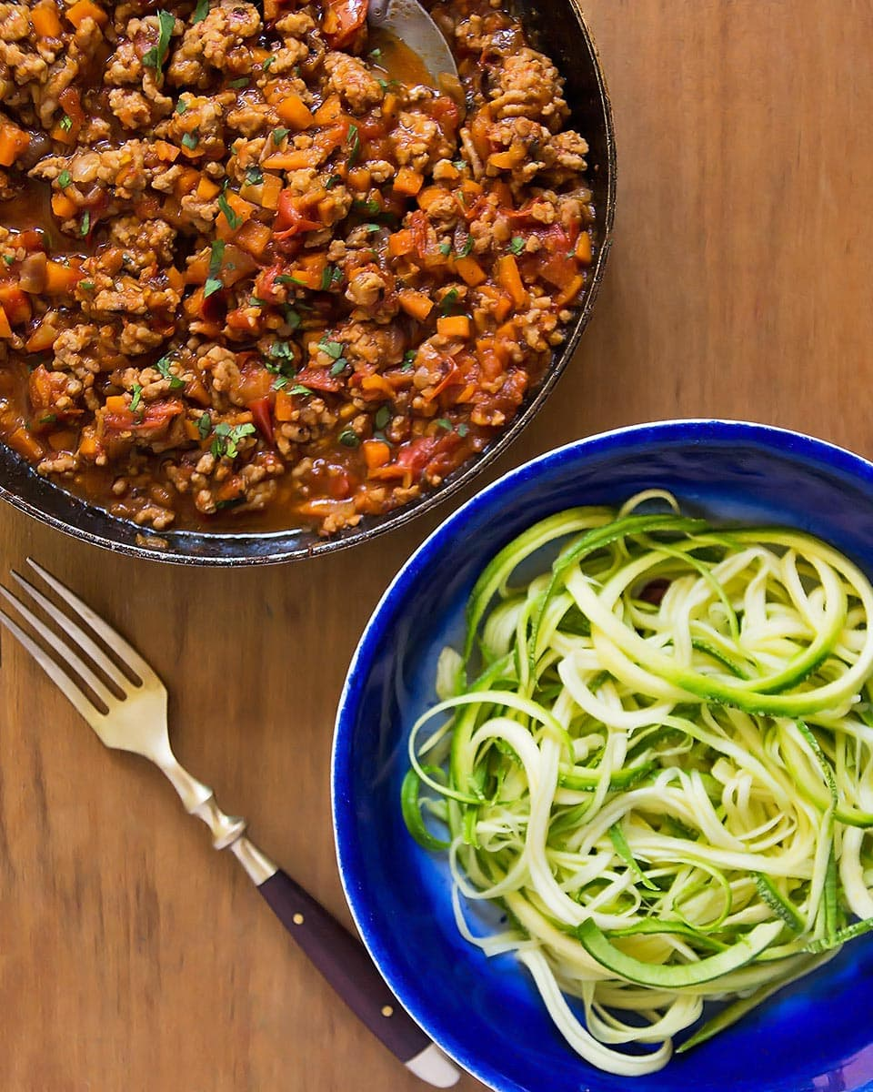 Pan of Bolognese with Zoodles