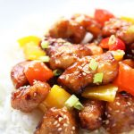 Homemade Orange Chicken Stir Fry on rice