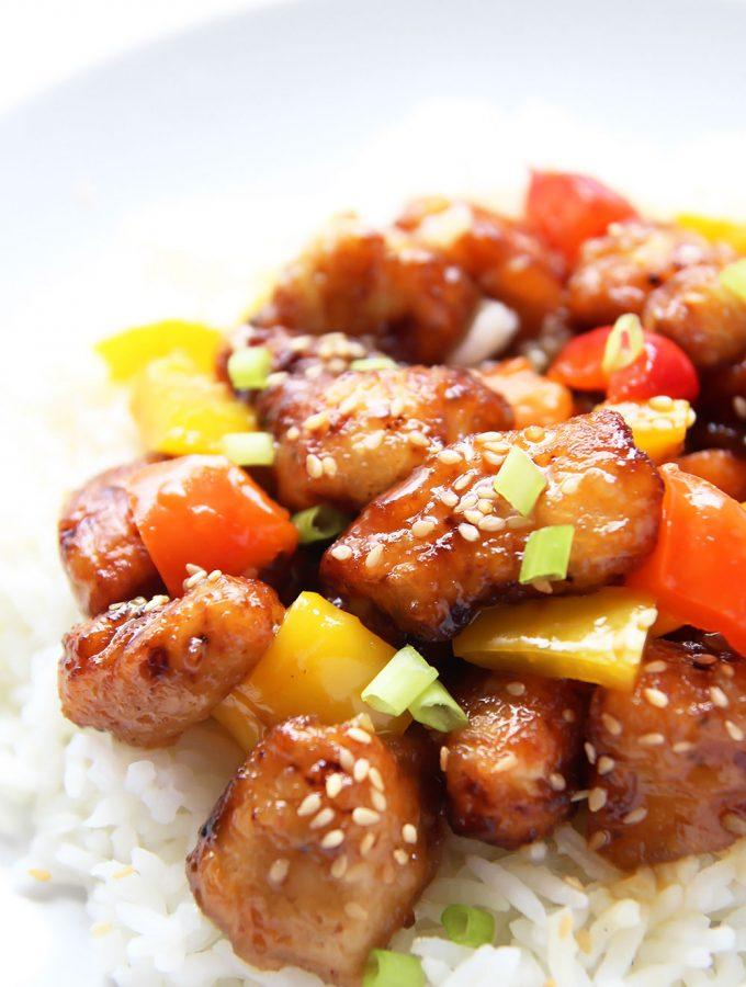 Homemade Orange Chicken Stir Fry on rice