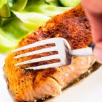 Fork flaking air fryer salmon