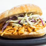 BBQ Pulled Chicken on bun with coleslaw
