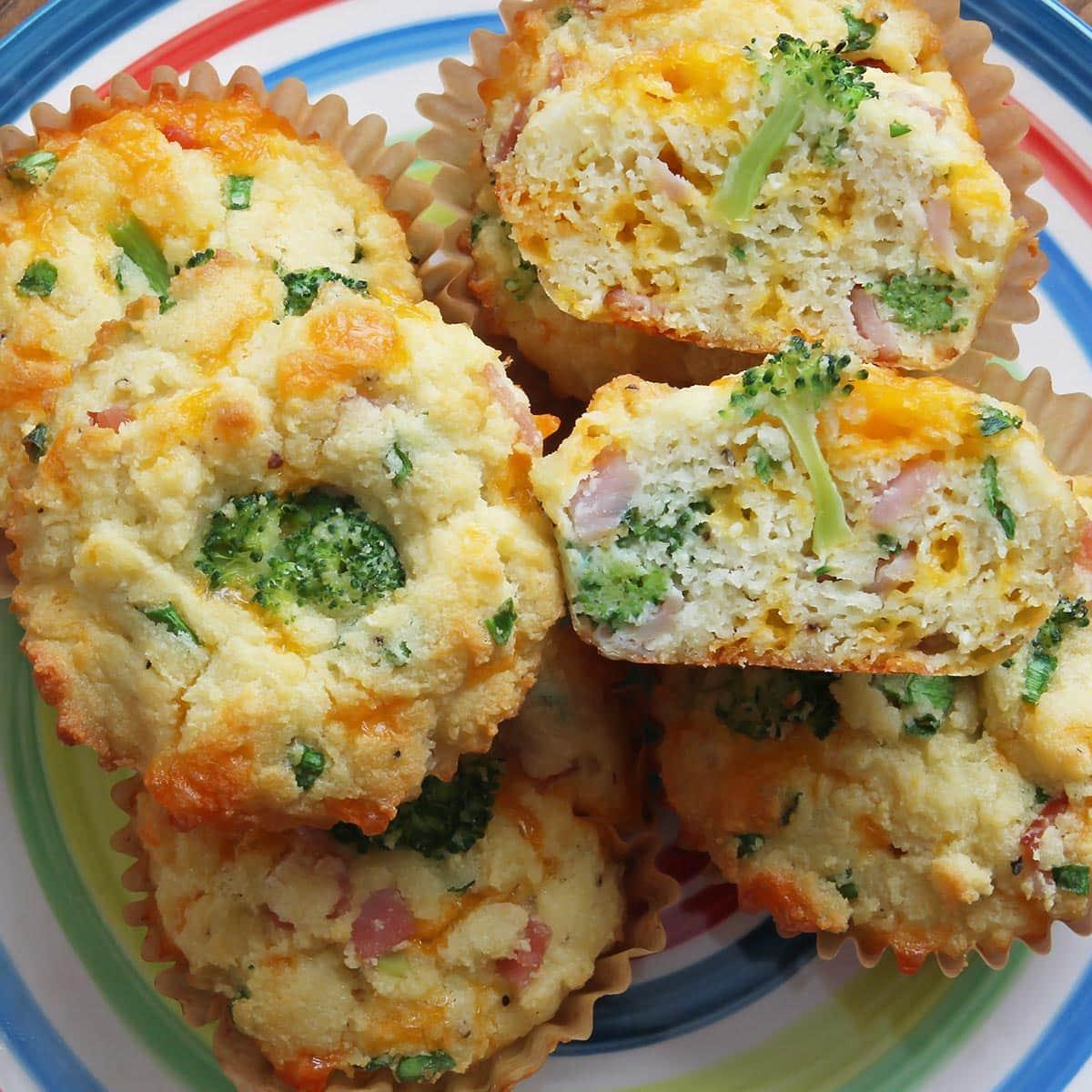 Broccoli Cheddar Muffins on a plate