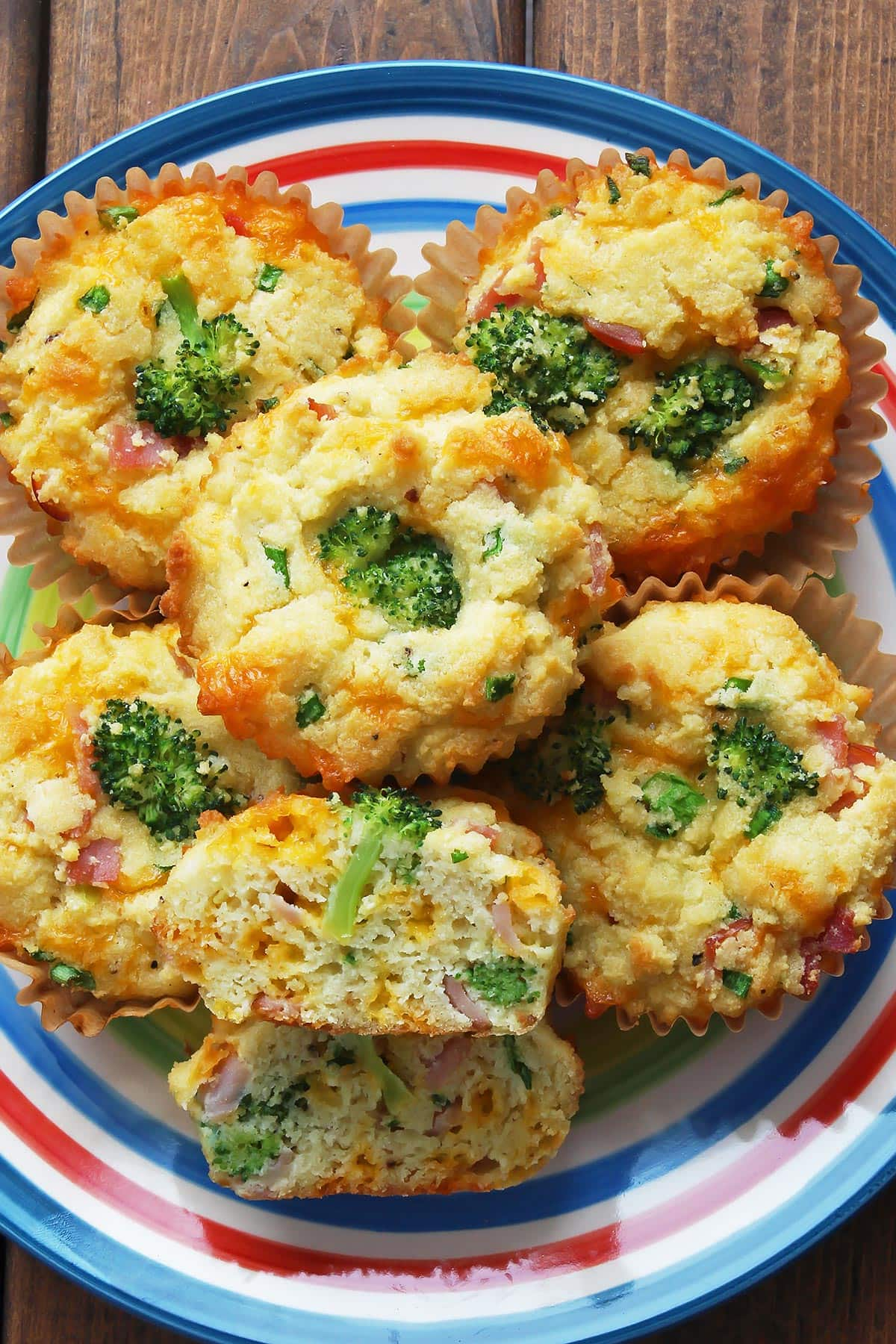 Broccoli Muffins with Ham and Cheese