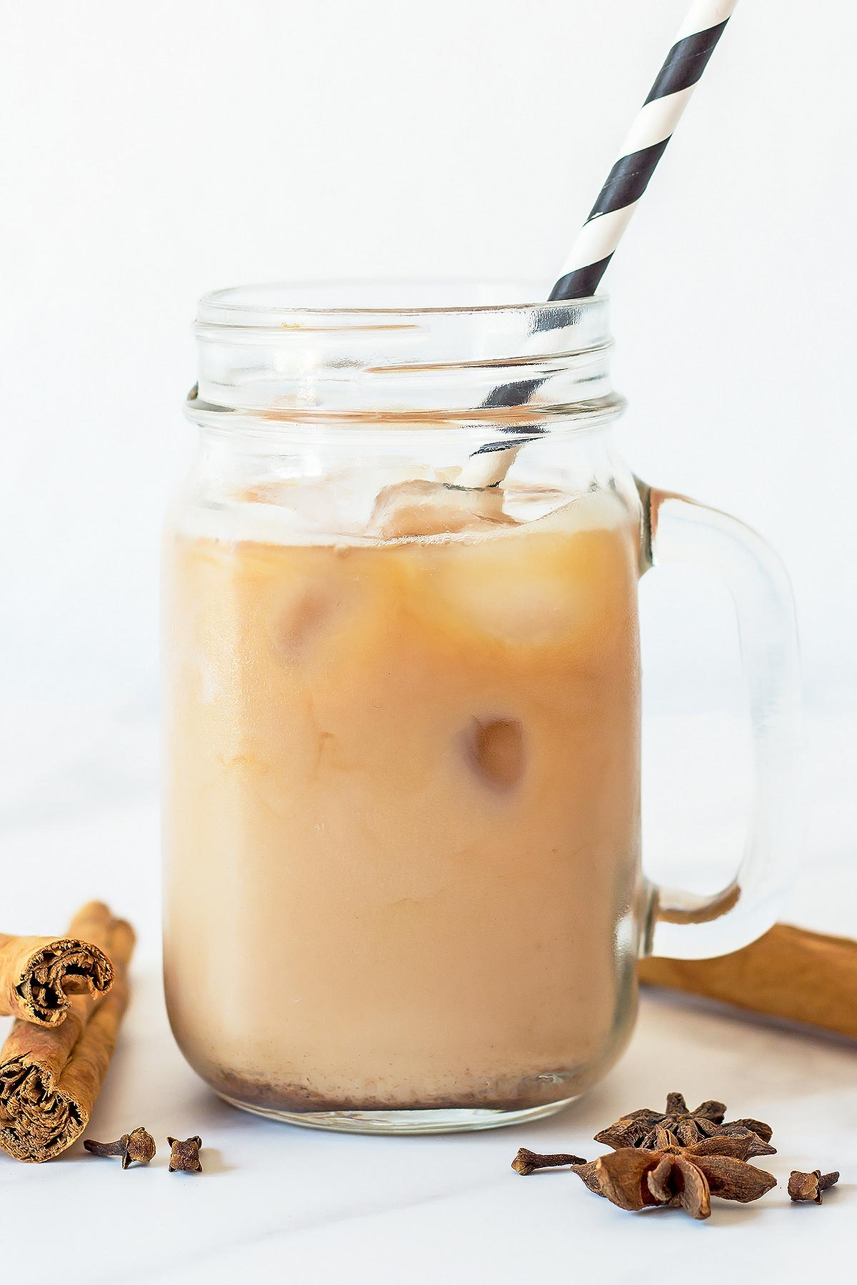 Spiced Iced Tea Latte in Mug with straw