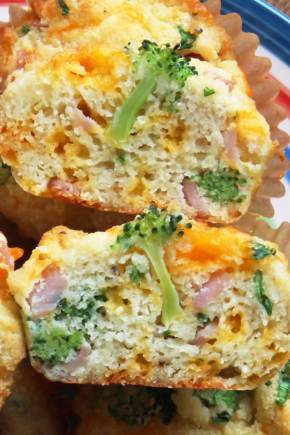 Keto Broccoli Muffins cut in half