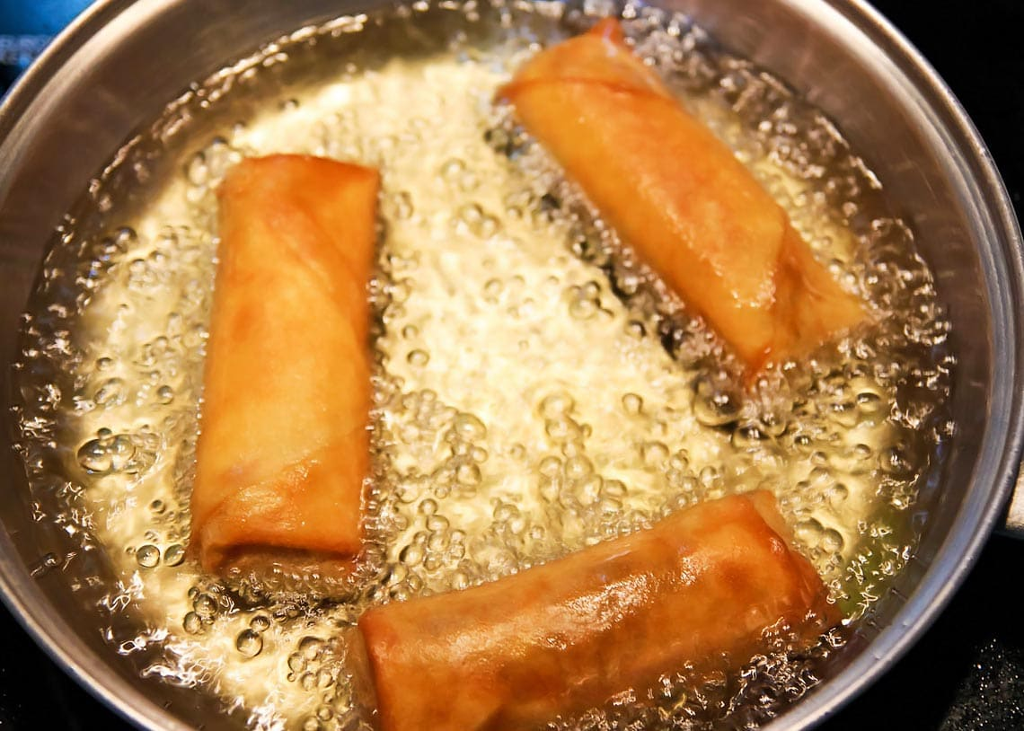Fried Spring Rolls in Pan