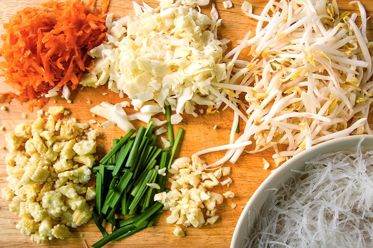 Ingredients for Easy Spring Rolls on Cutting Board