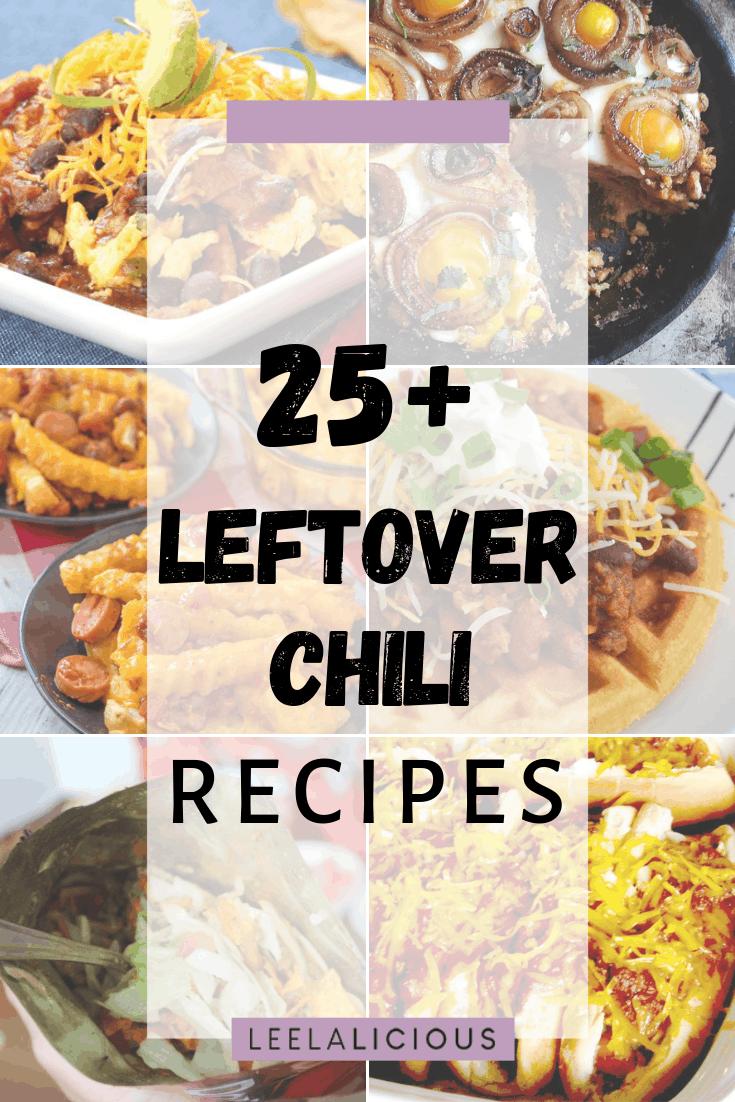 Collage of Leftover chili recipes