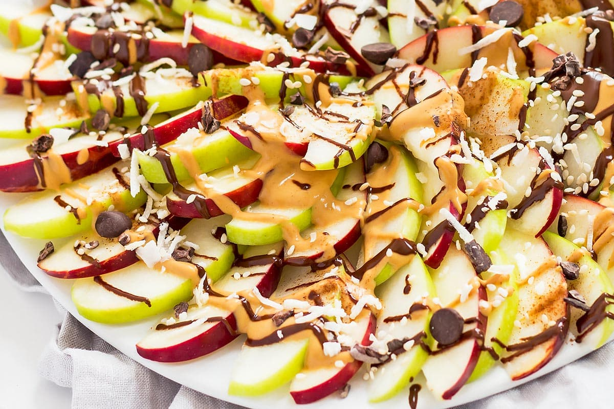 Apple Nachos Platter Closeup