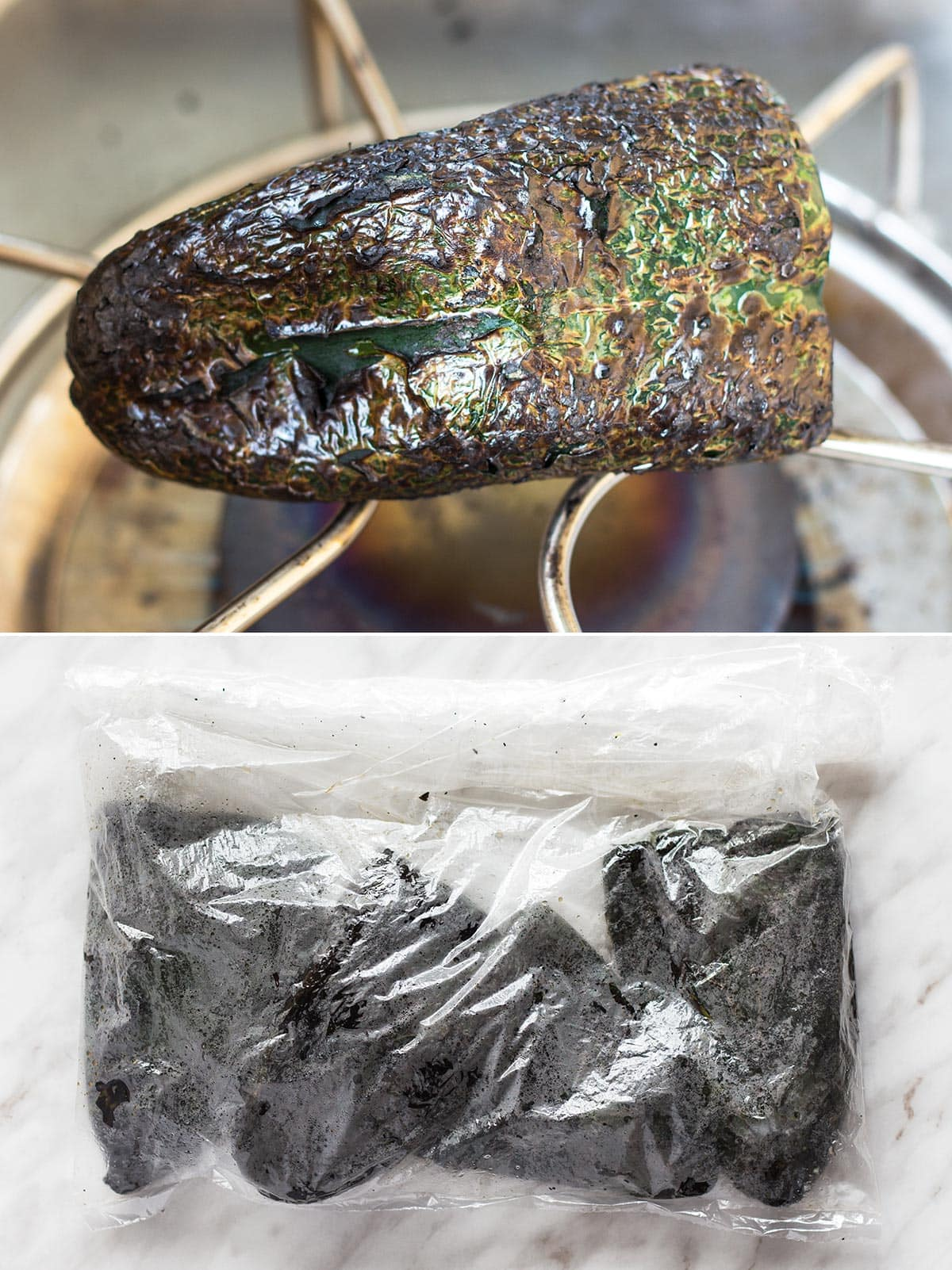 Charring and sweating poblano peppers