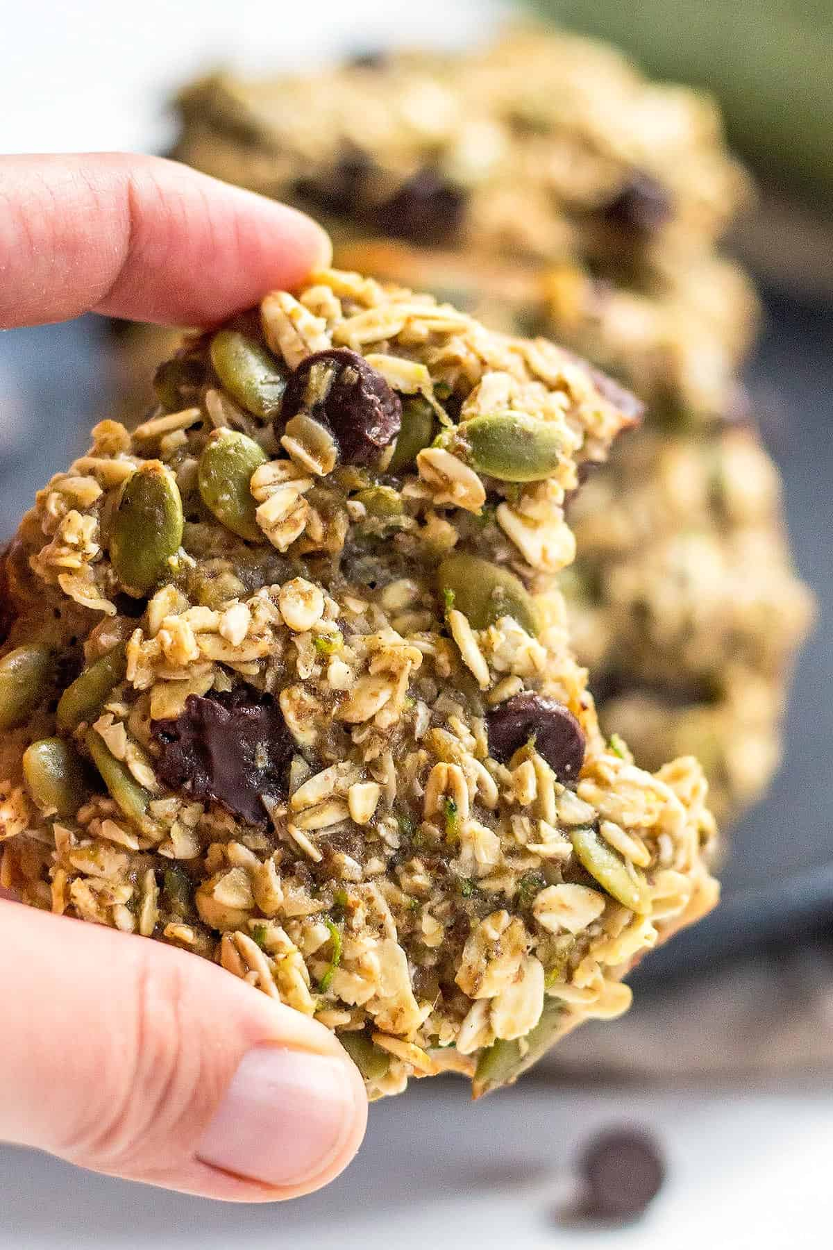 Hand holding Healthy Zucchini Cookies