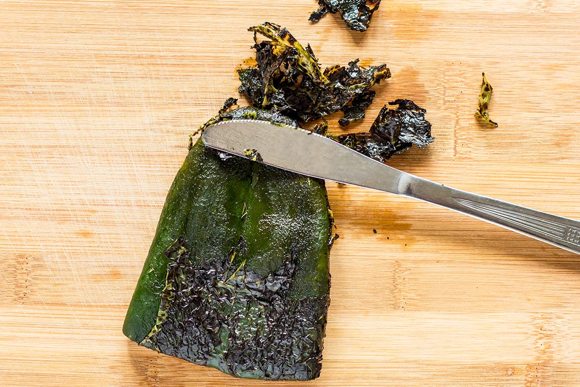 Removing skin from poblano peppers