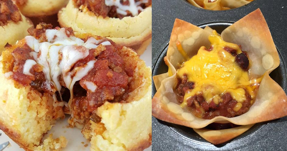 Leftover Chili muffins and cups