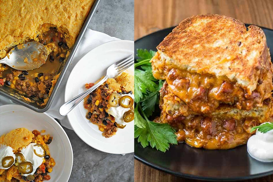 Chili cornbread casserole and chili grilled cheese