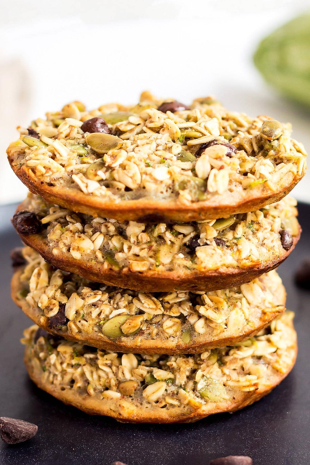 Stack of Zucchini Oatmeal Breakfast Cookies