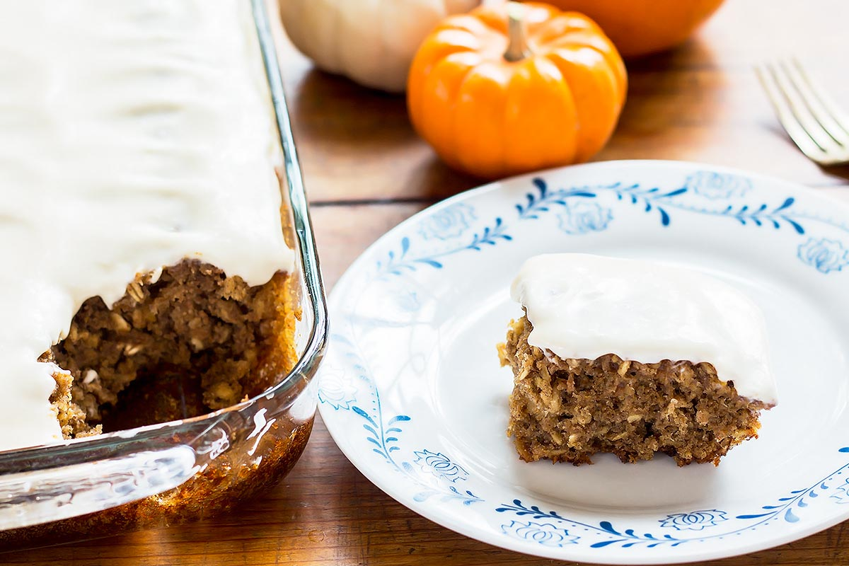 Pumpkin bars in pan and on plate