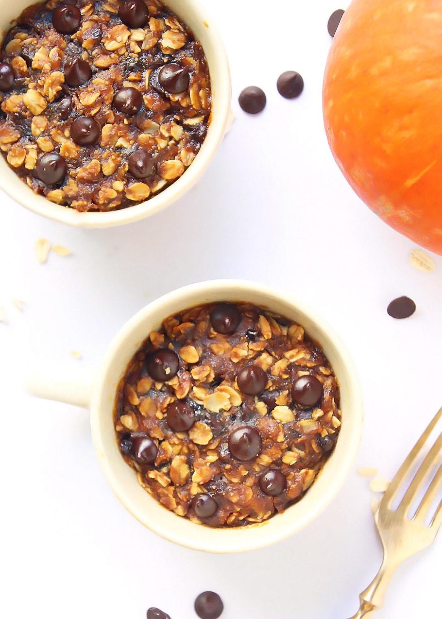 Two pumpkin mug cookies