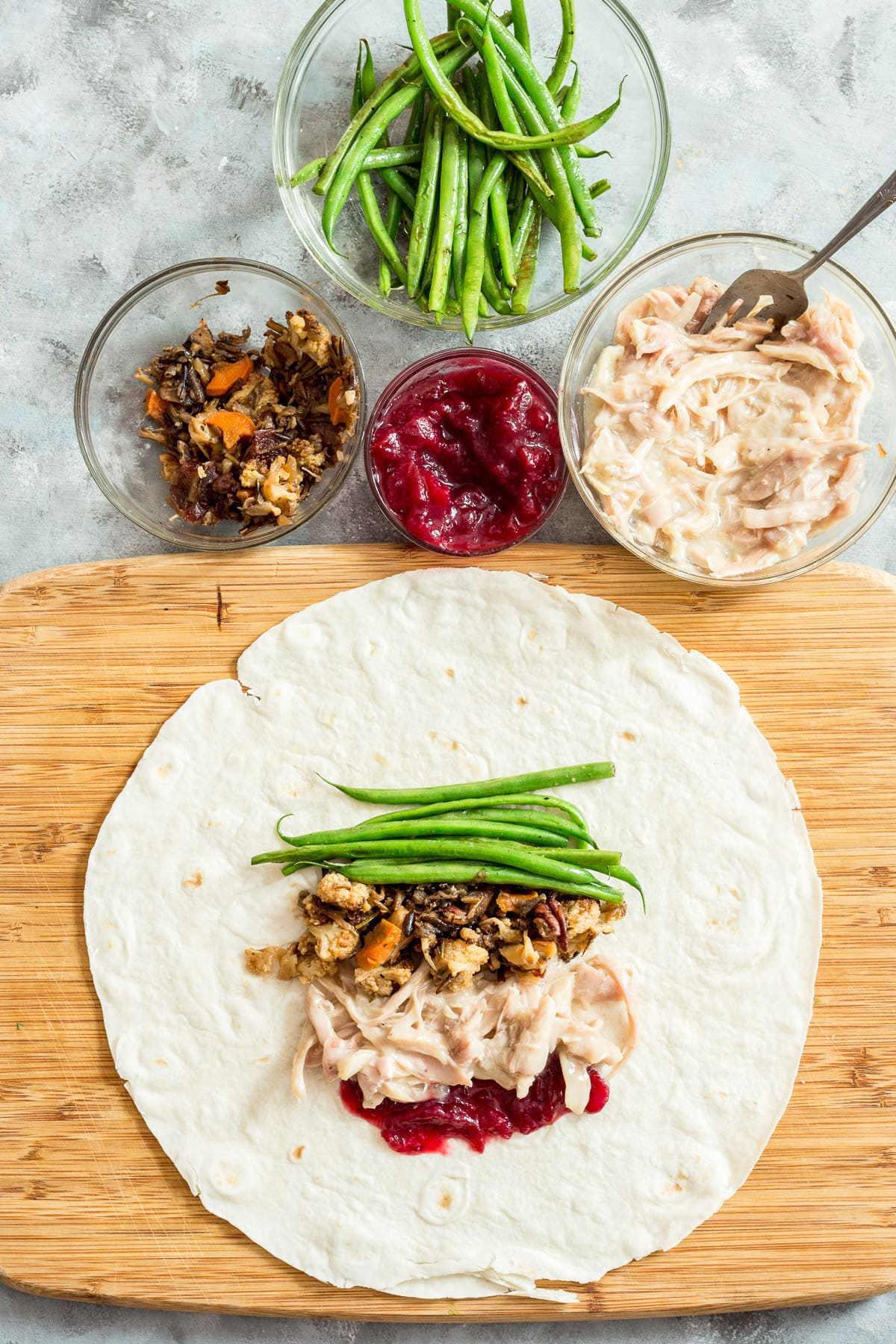 Tortilla with topped with thanksgiving leftovers