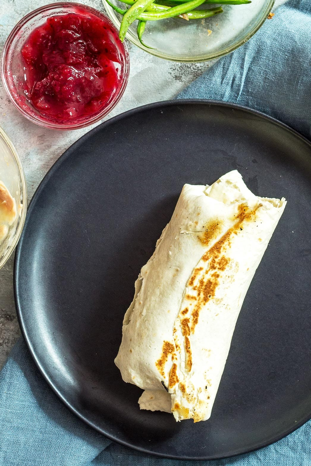 Thanksgiving leftovers wrapped in a burrito