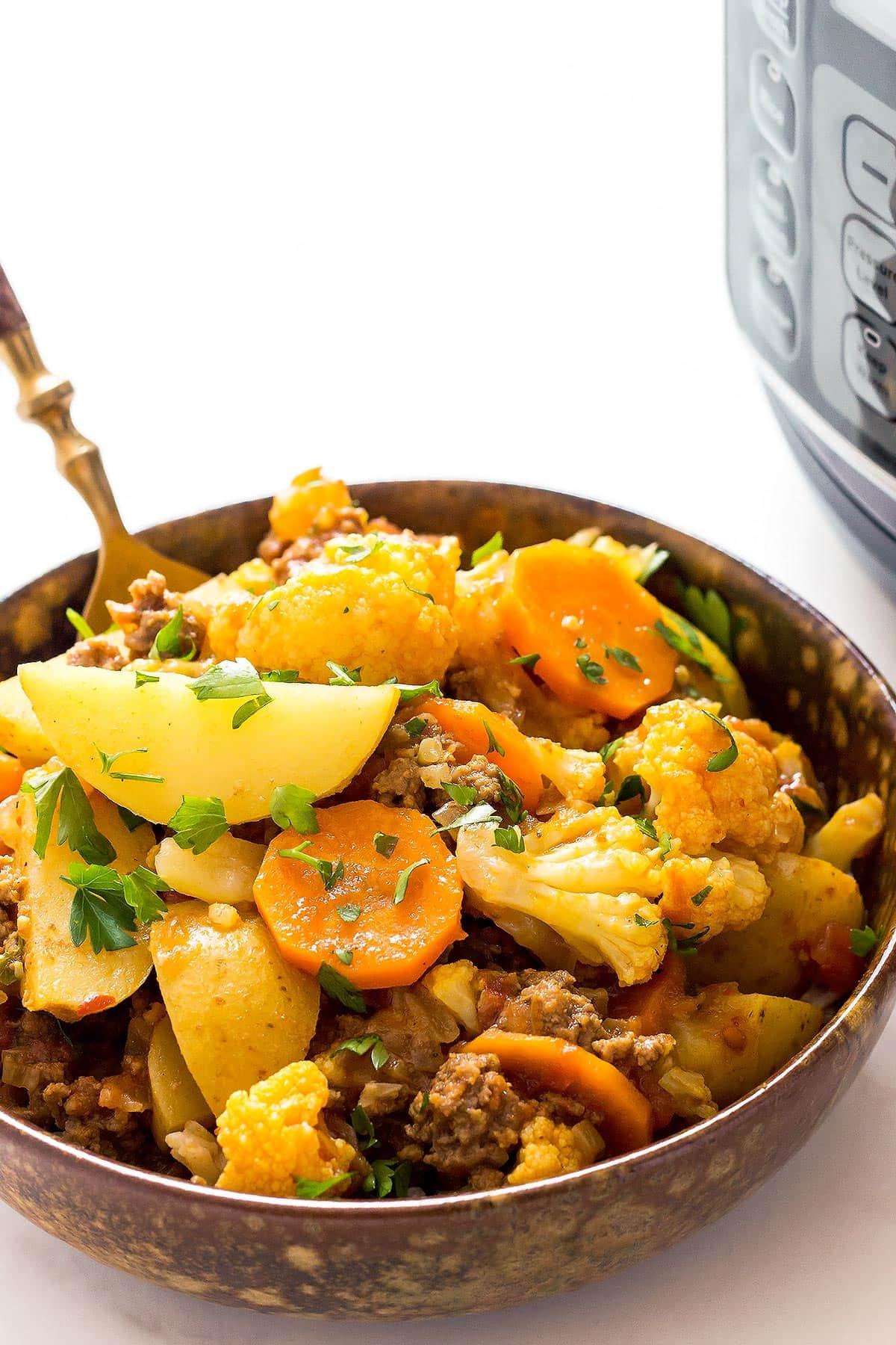 Dish of keema curry