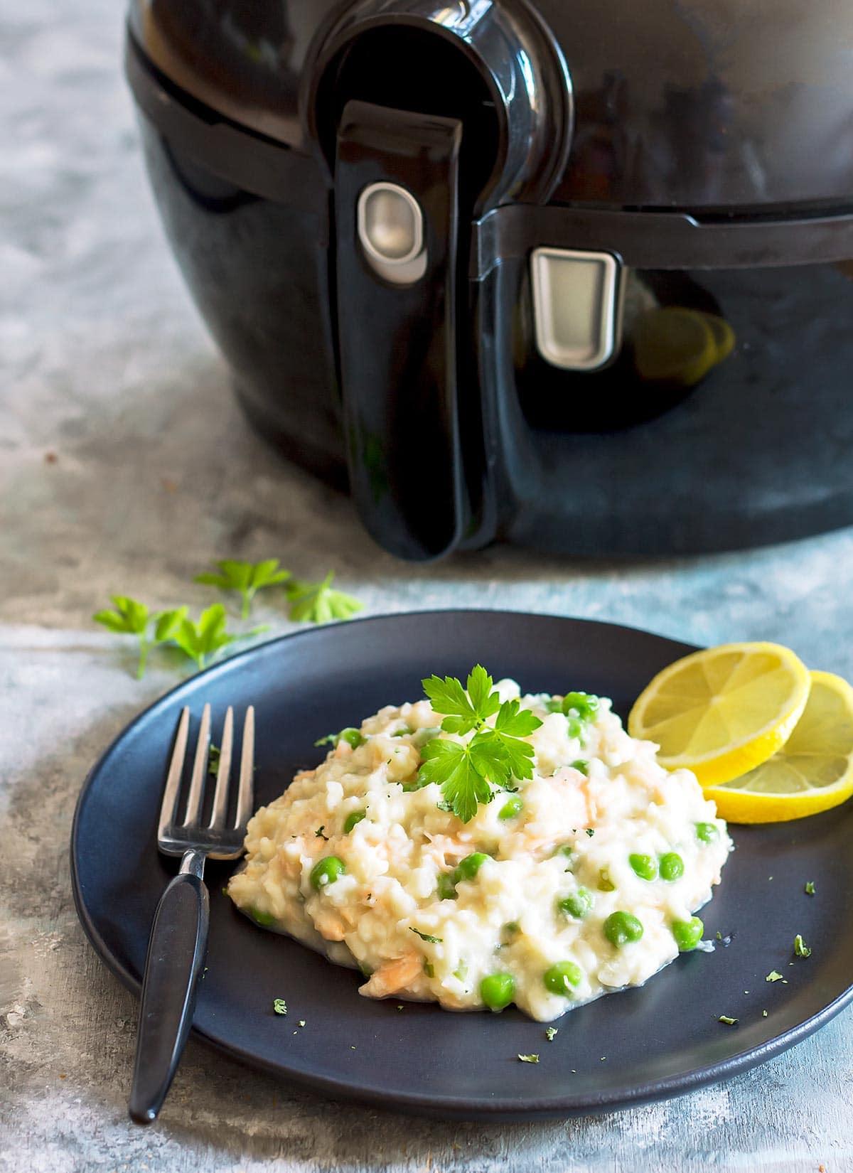 Salmon Pea Risotto on Plate