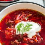 Borscht Soup In Bowl with Sour Cream & Dill