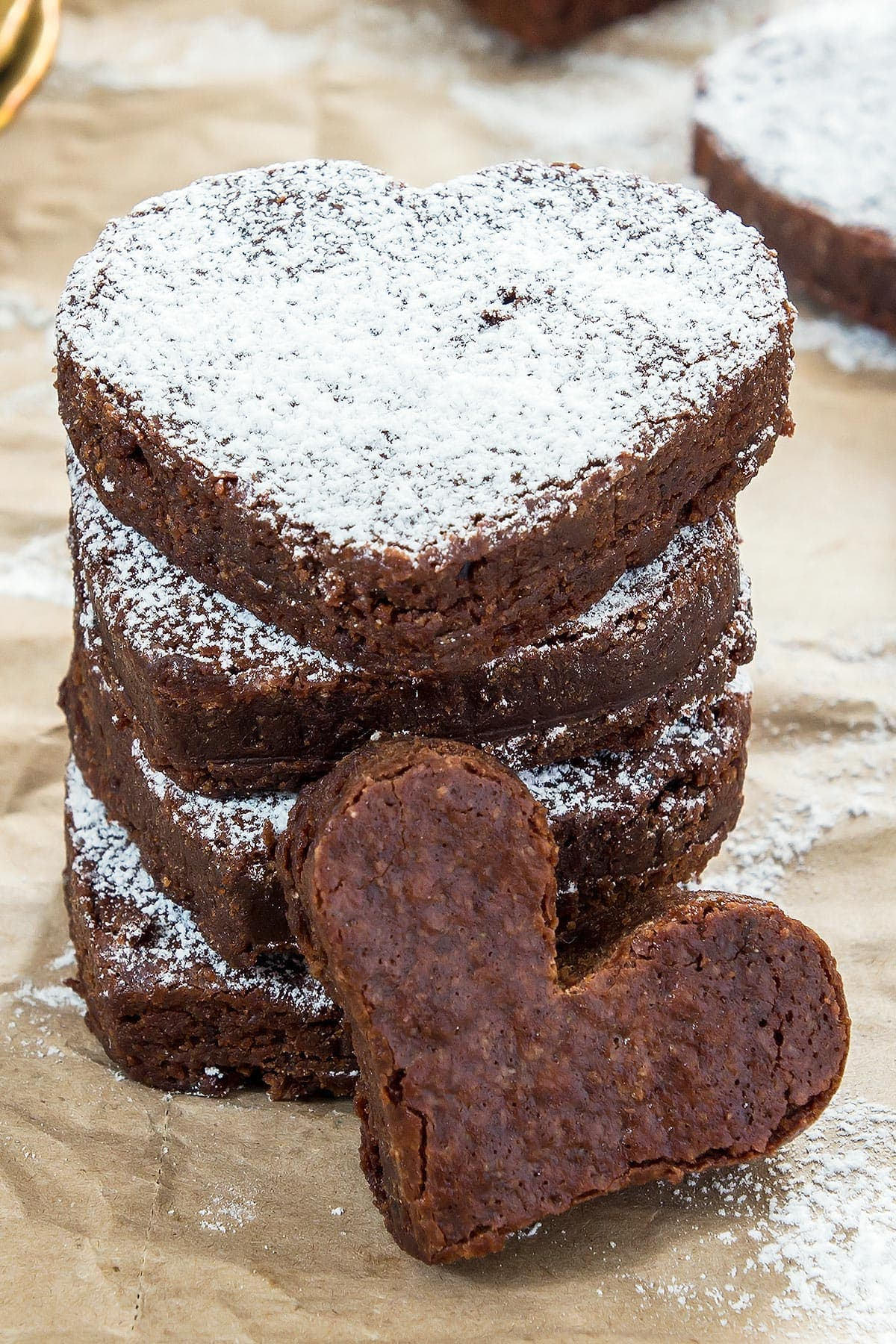 Stack of chocolate brownie hearts