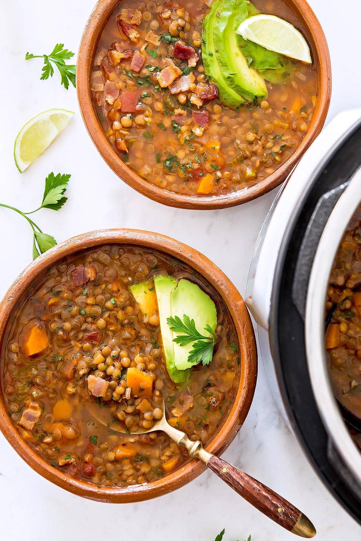 Mexican Lentil Soup Bowls