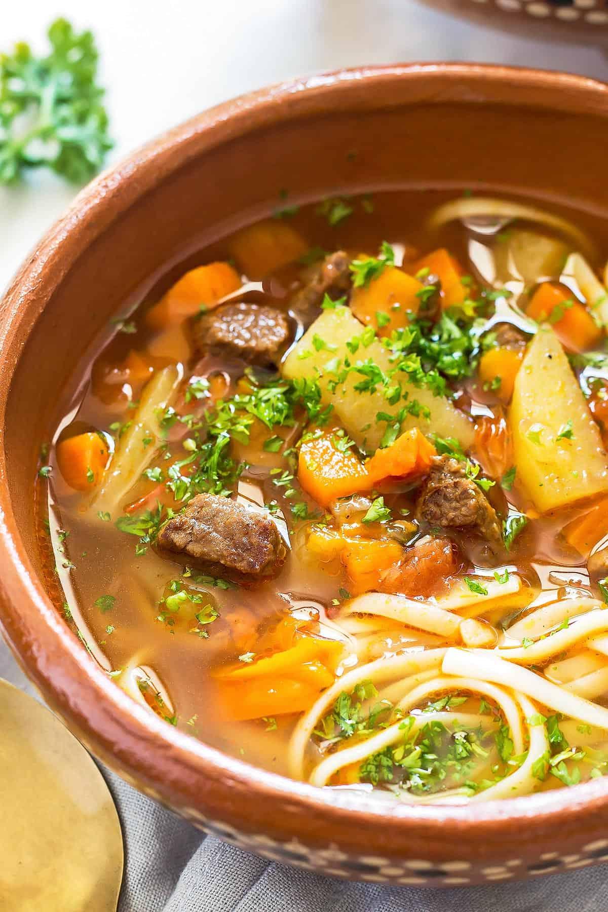 Pressure Cooker Beef Noodle Soup