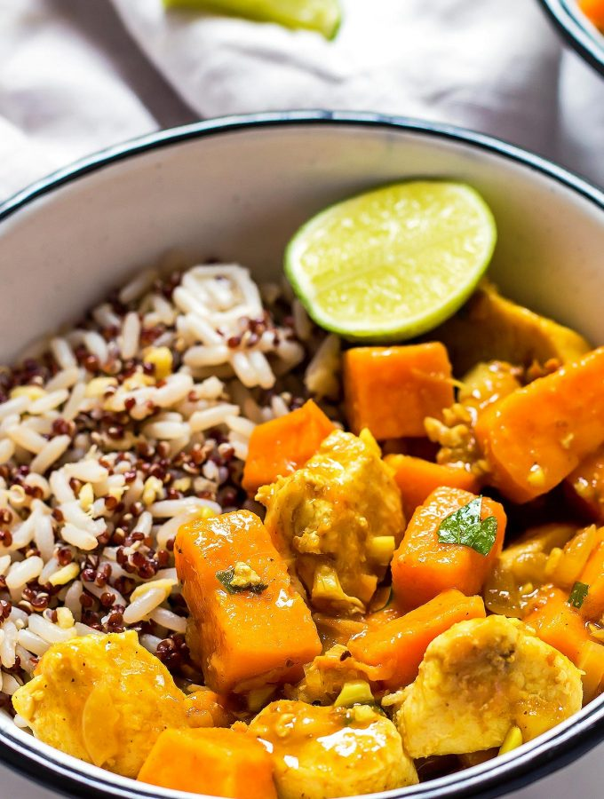 Bowl of sweet potato curry over rice blend