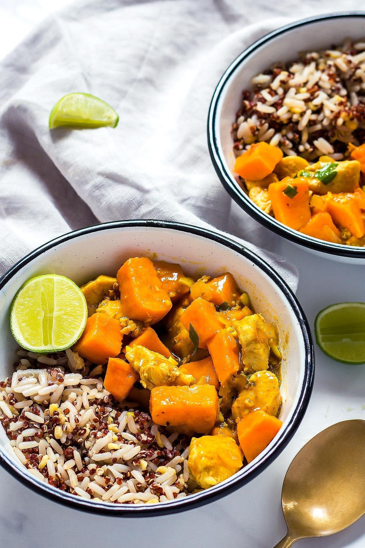 Sweet Potato Chicken Curry over multigrain rice mix