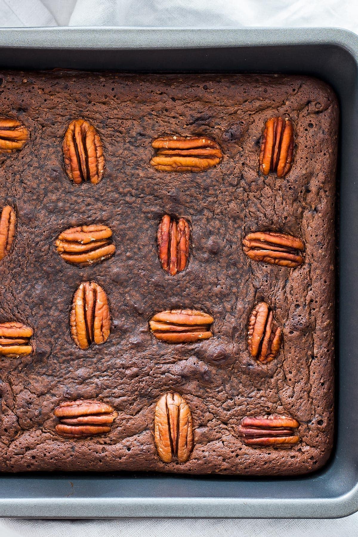 Pan of Uncut Coconut Flour Brownies