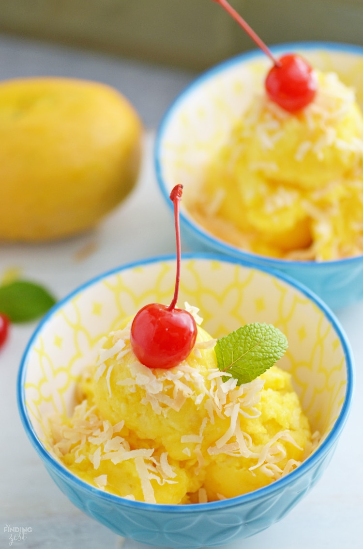 Mango Pineapple sorbet with Cherry