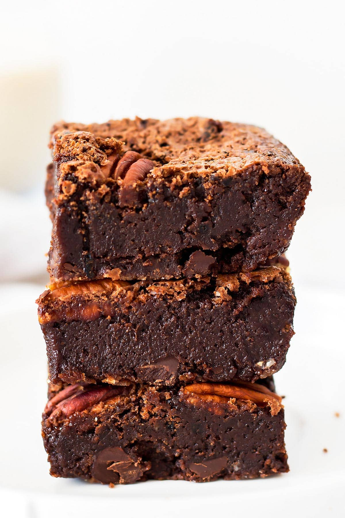 3 brownies in a stack
