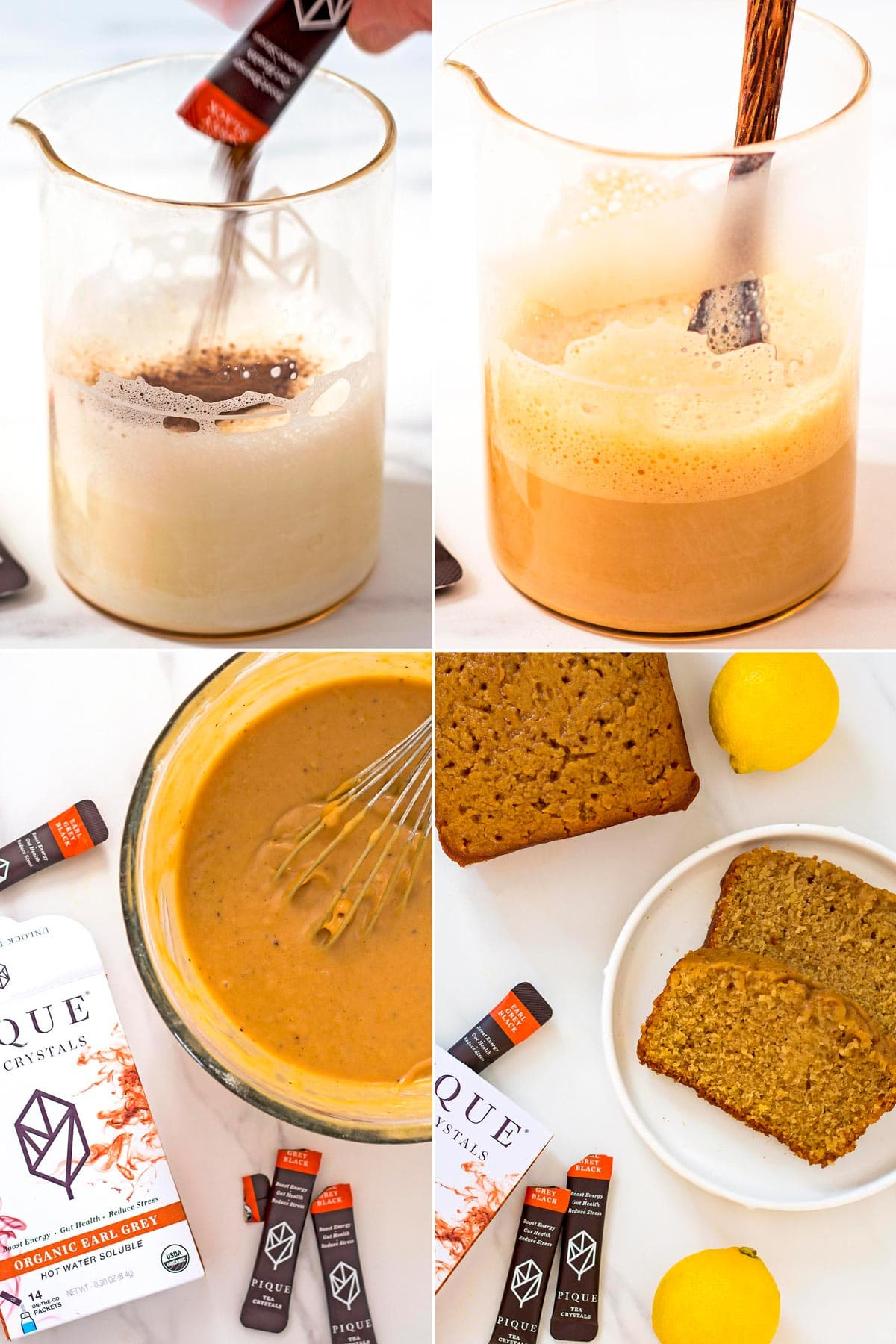 Steps of making earl grey cake with pique tea crystals