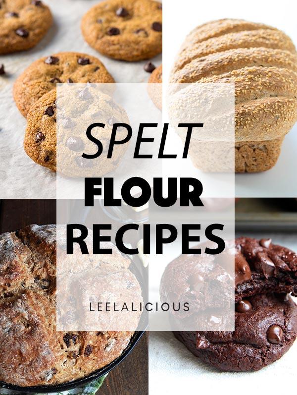 Image Collage of 4 Spelt Flour Recipes