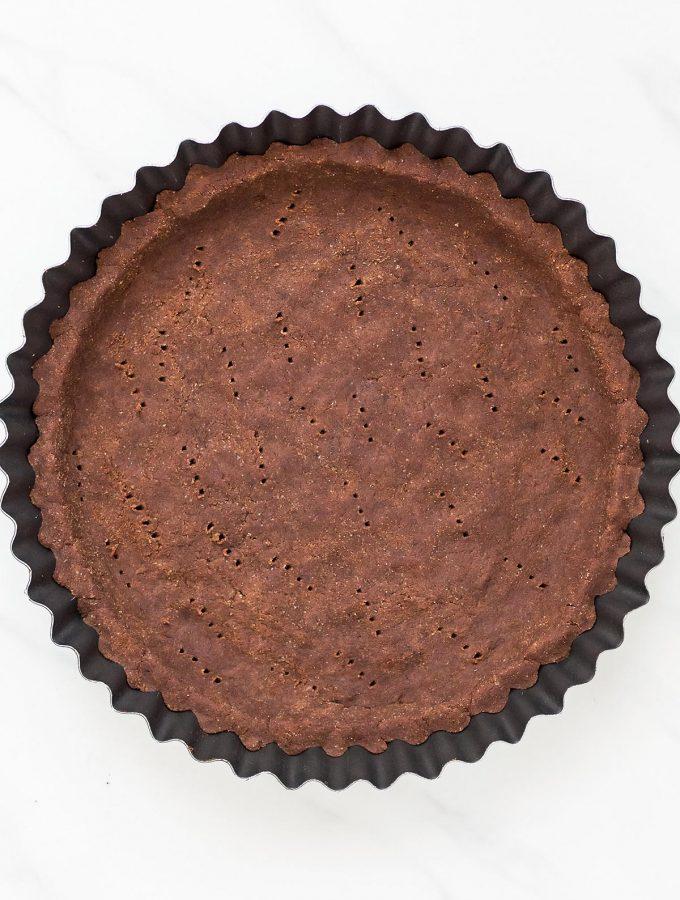 Gluten Free Chocolate Pie Crust in pan