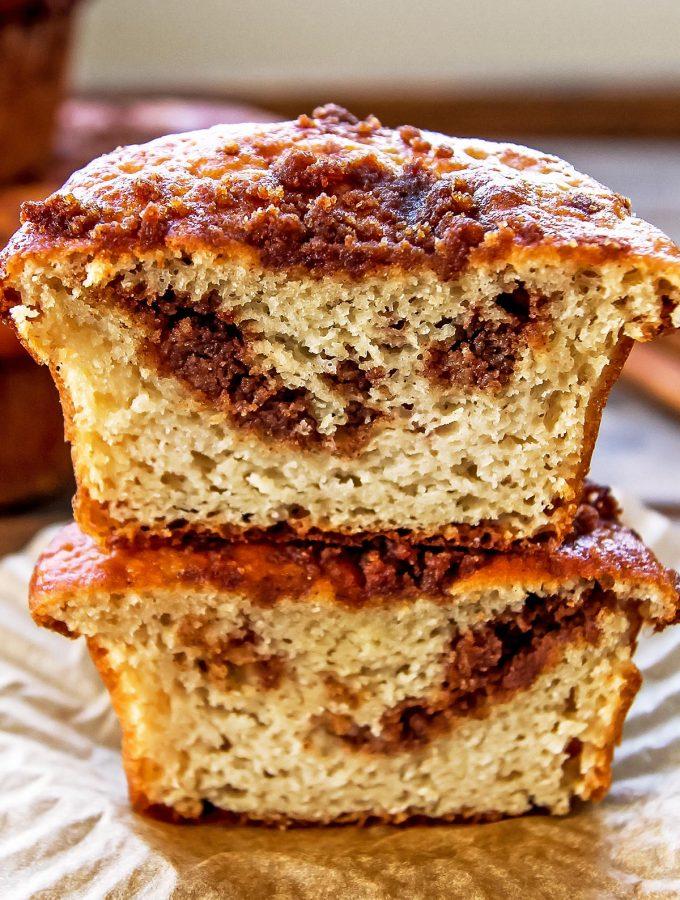 Stacked Gluten Free Coffee Cake Muffins