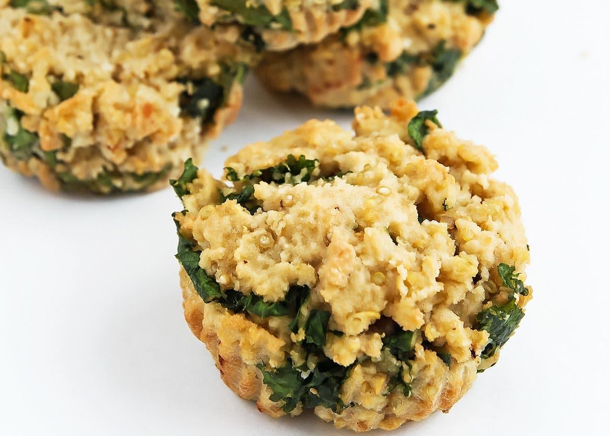 Close up of kale quinoa bite
