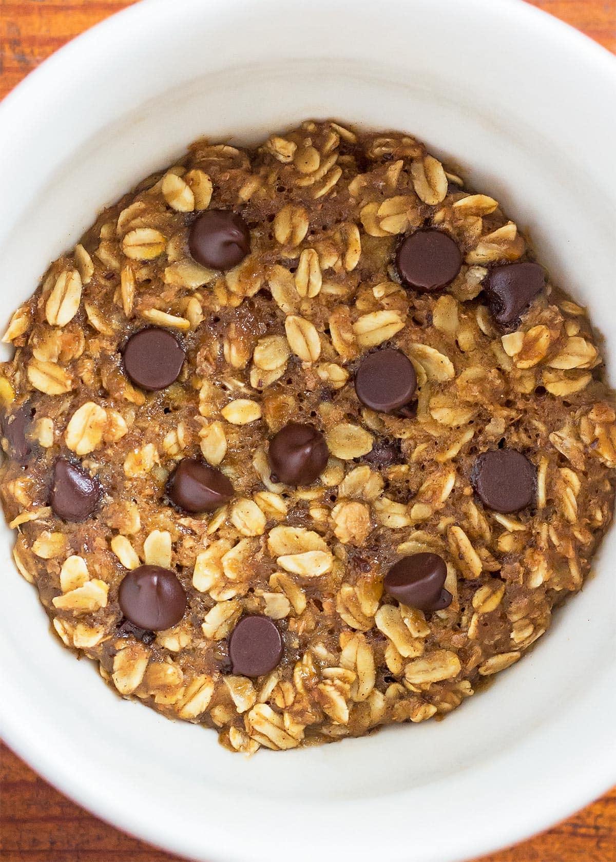 Finished Oatmeal Chocolate Chip Mug Cookie