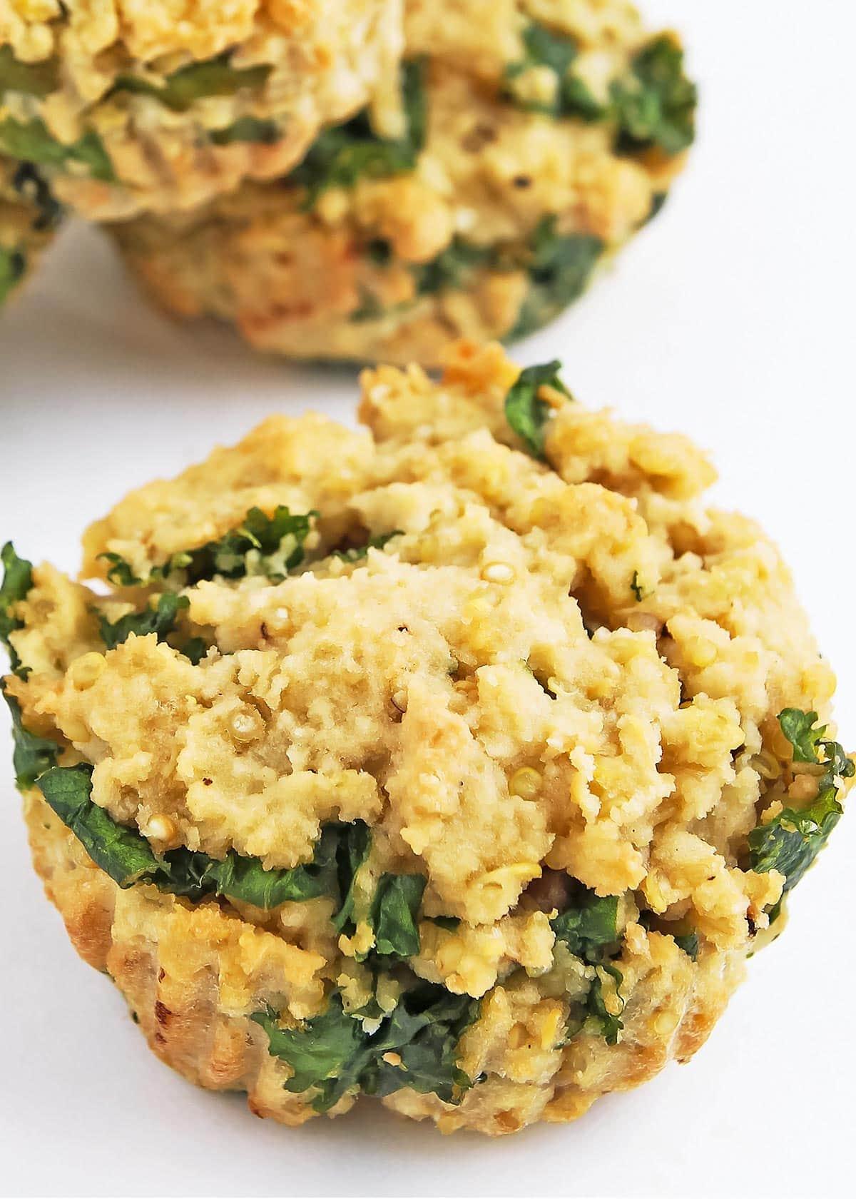 Macro view of healthy quinoa muffin