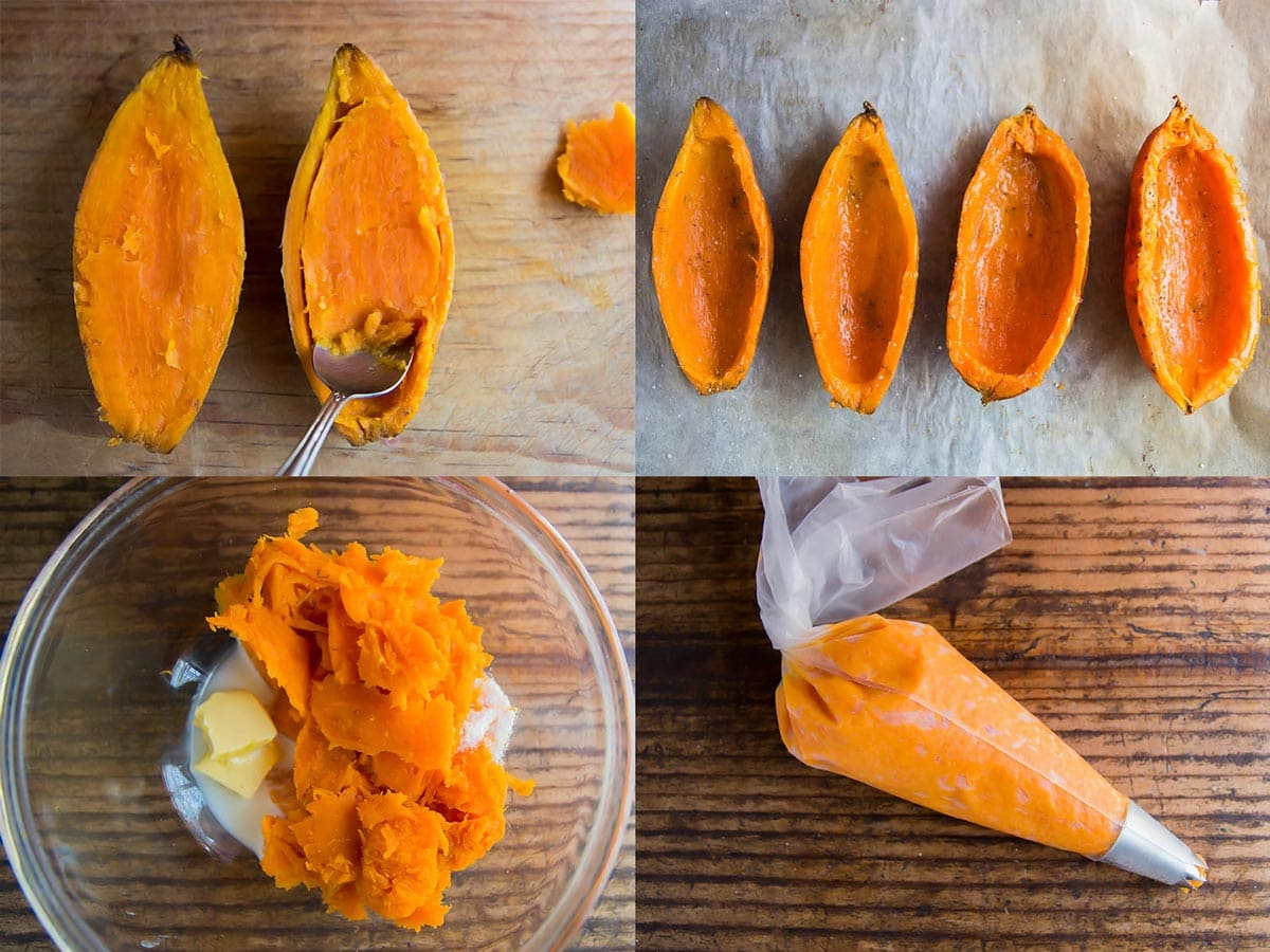 Steps for making sweet potato mash