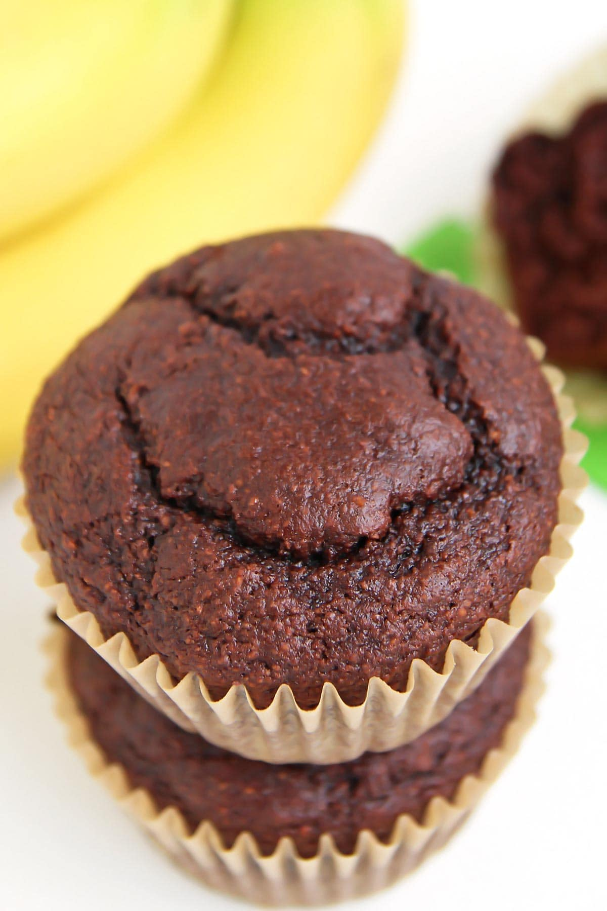 Coconut Flour Banana Chocolate Muffins stacked