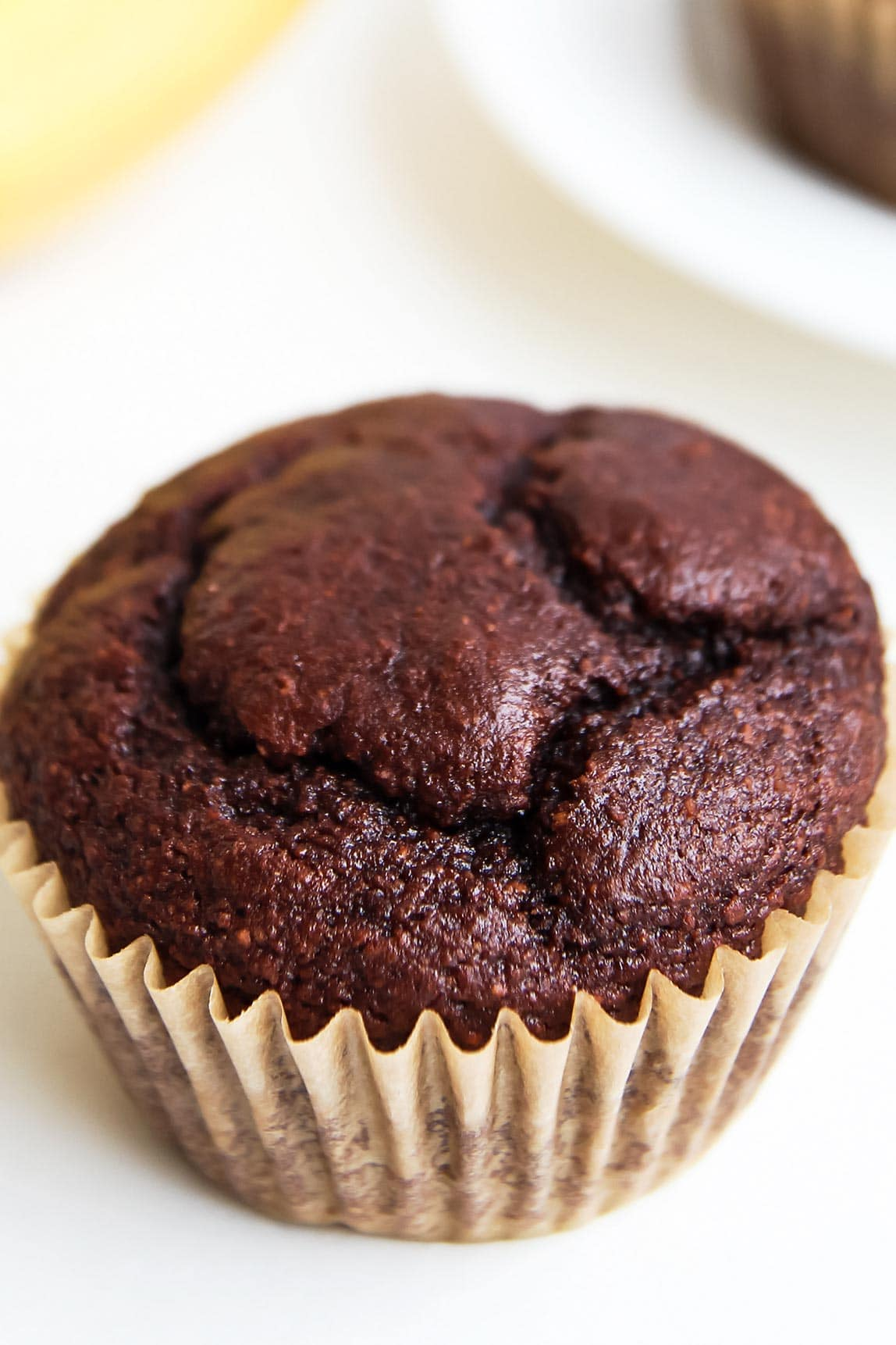 Closeup of Gluten Free Chocolate Banana Muffin