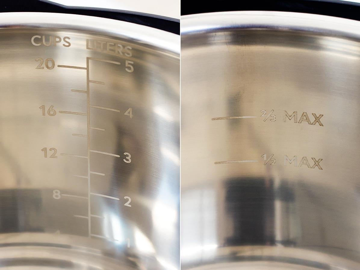 Markings inside stainless steel inner liner