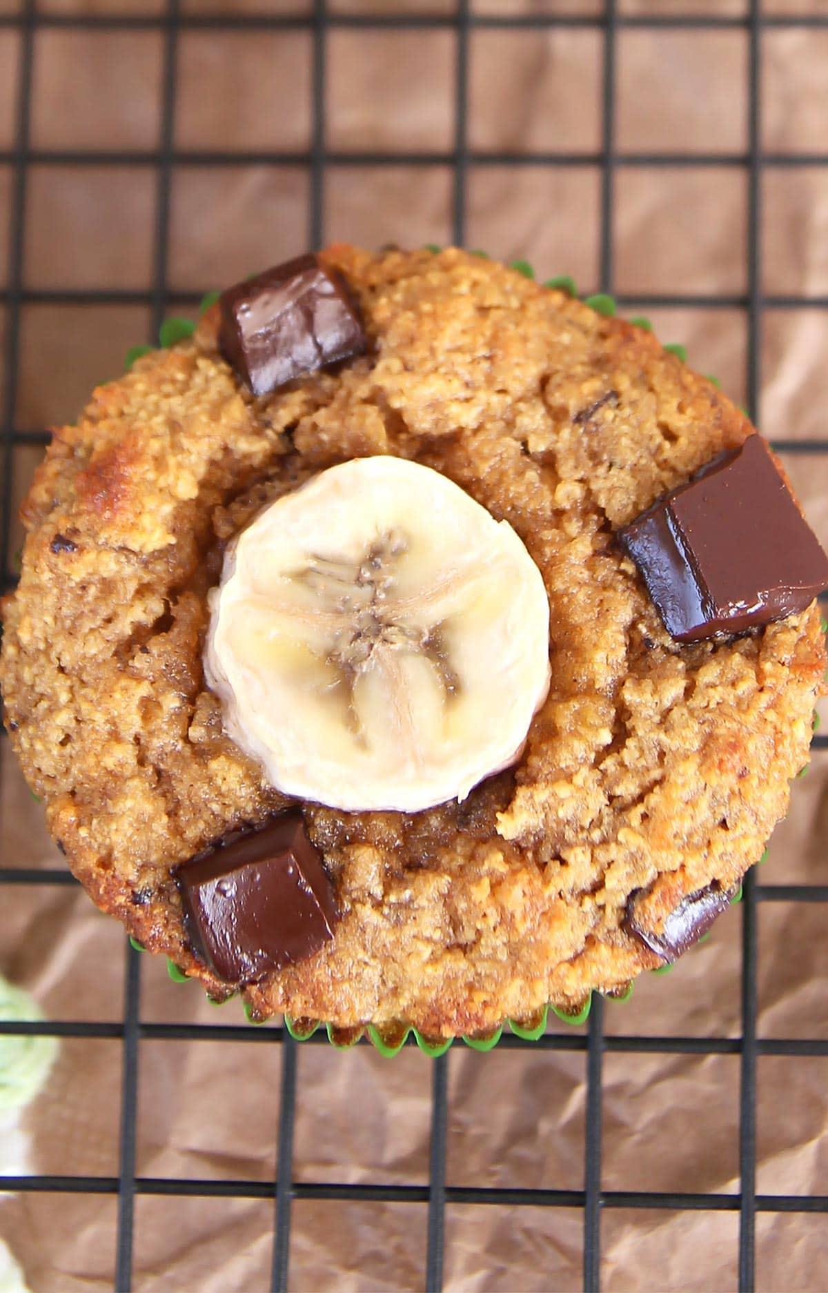 Closeup of gluten free banana muffin