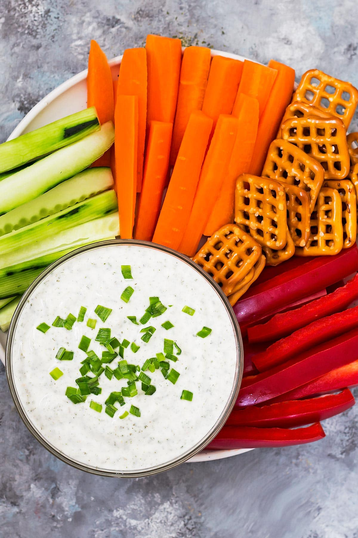 Greek Yogurt Dip on Veggie stick platter