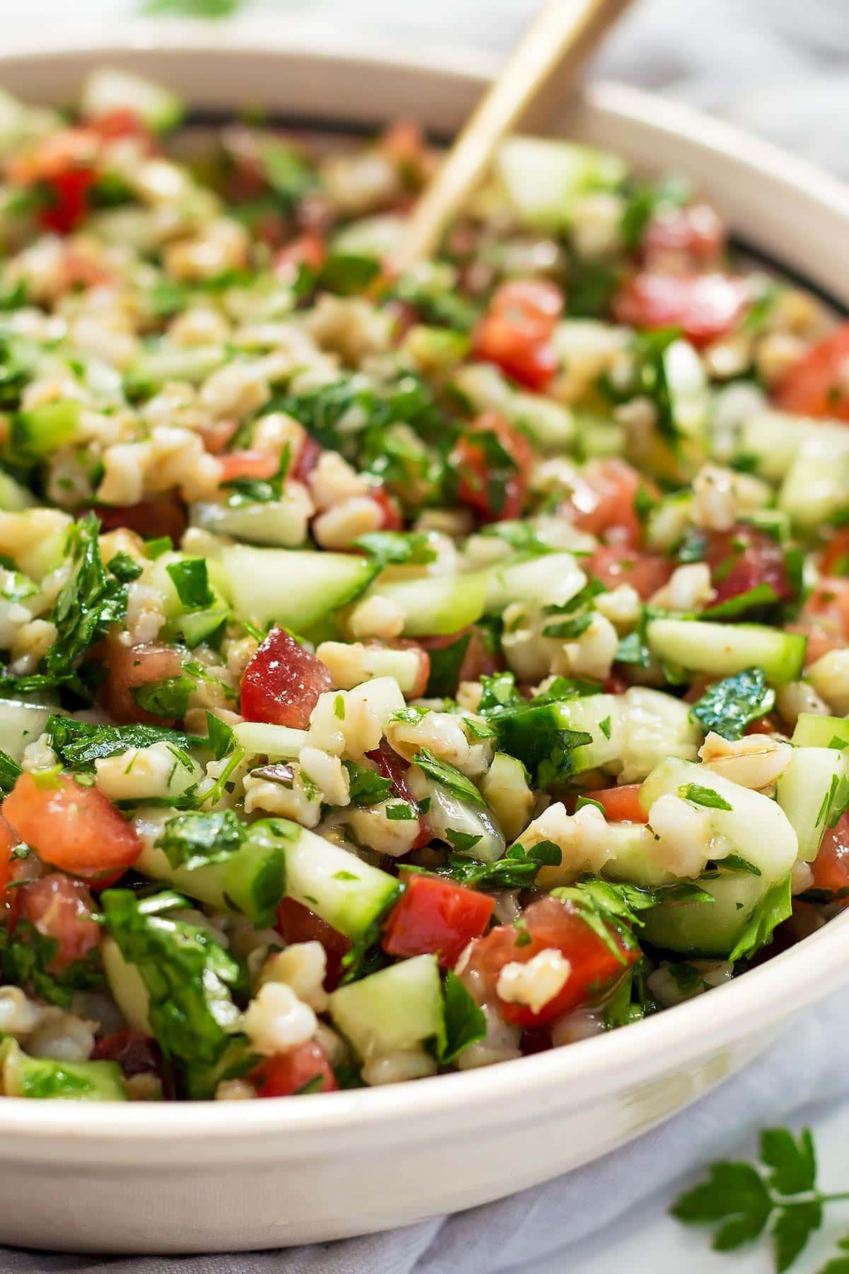 Barley Tabbouleh Salad in Bowl