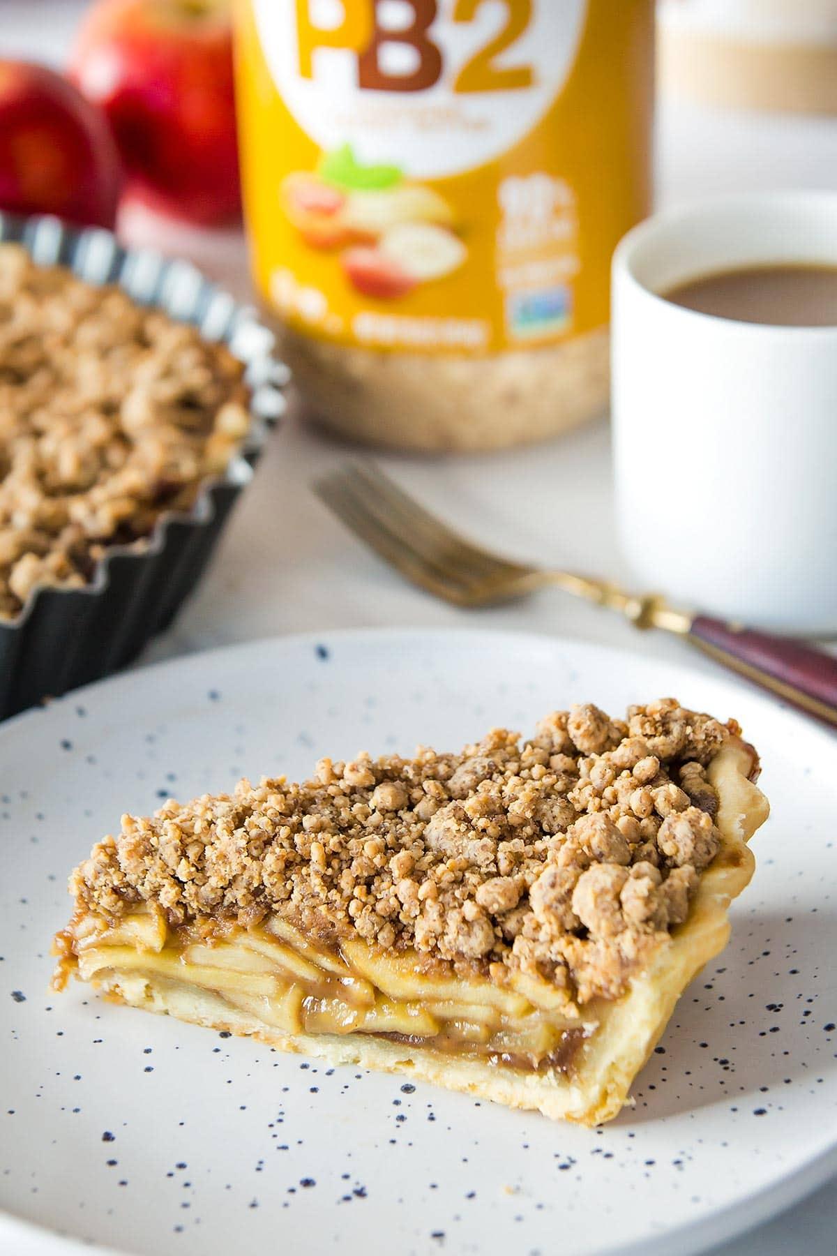 Slice of apple crumble pie
