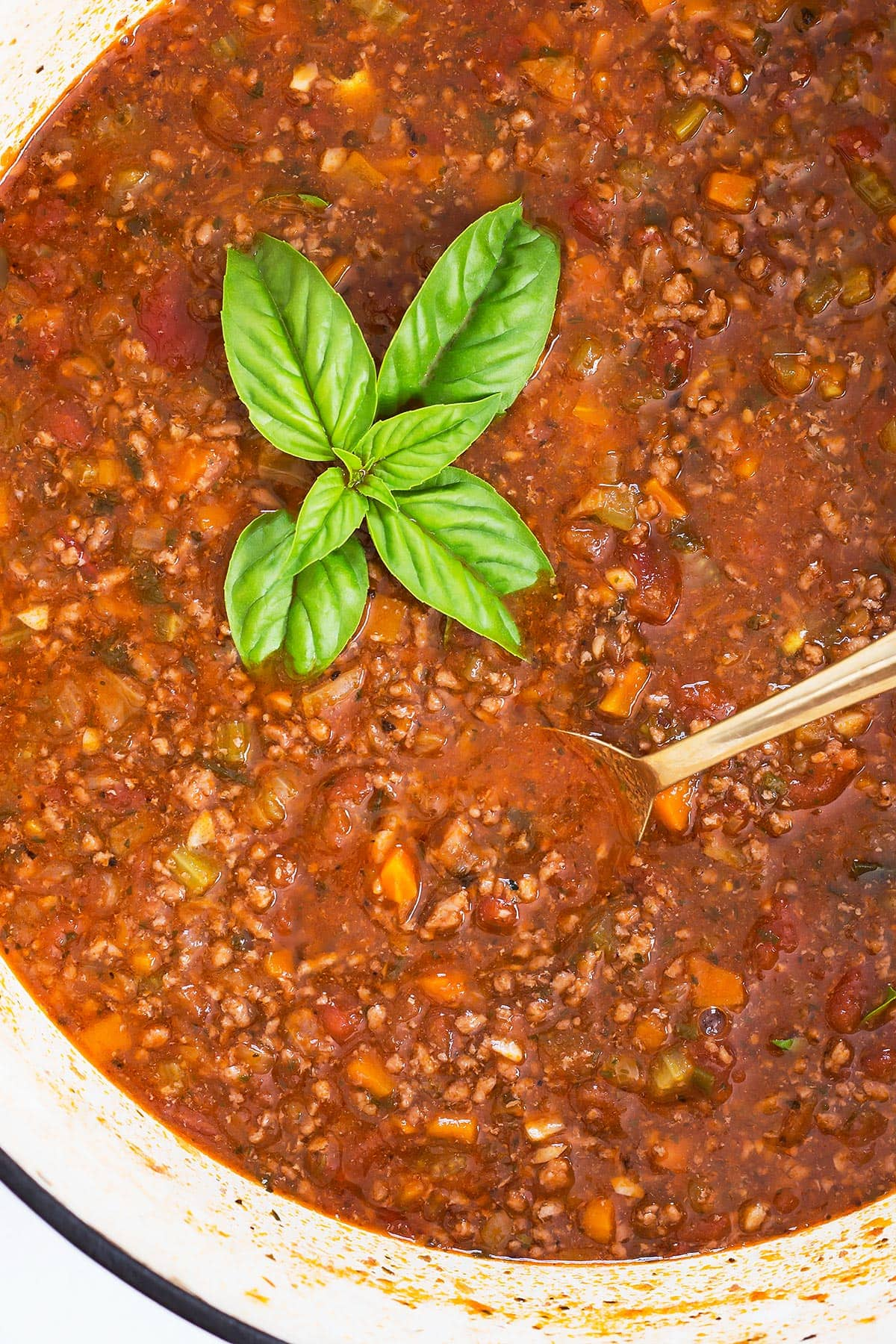 Homemade Bolognese Sauce with fresh basil in pot